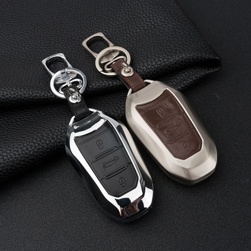 Zinc alloy+Leather Car <font><b>Key</b></font> <font><b>Cover</b></font> Case For <font><b>Peugeot</b></font> <font><b>3008</b></font> 5008 408 2008 308 508 For Citroen C4 C5 C6 C4L CACTUS DS4 DS5L DS6 Elysee image