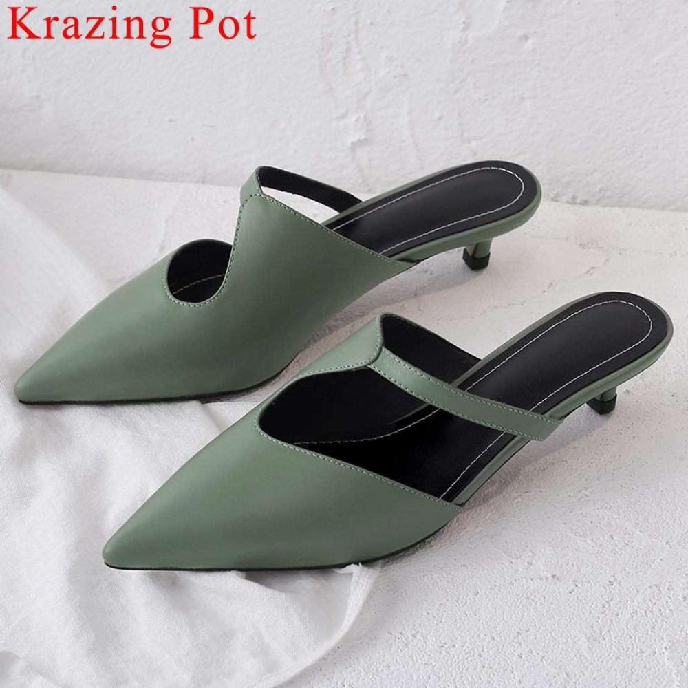 Large size elegant lady natural leather kitten heels pointed toe oxford slip on mules concise style classic slingback pumps L25Large size elegant lady natural leather kitten heels pointed toe oxford slip on mules concise style classic slingback pumps L25