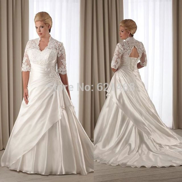Best Selling 2015 Wholesales A Line White Satin Appliqued Wedding ...