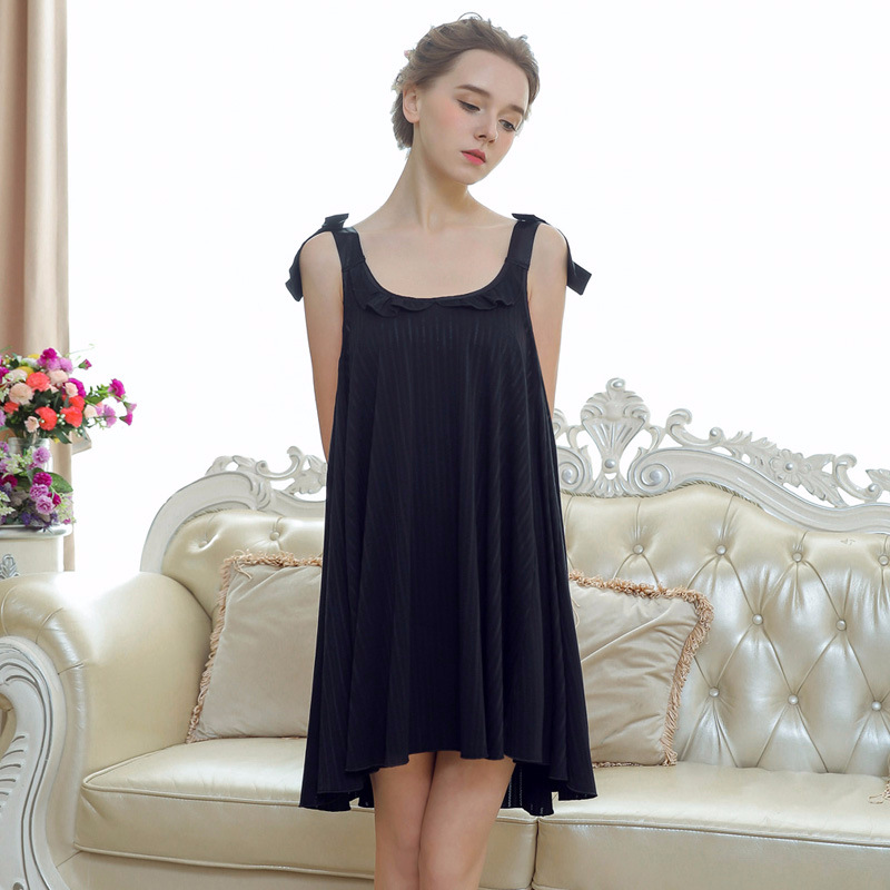 Black New Women Sexy   Nightgowns     Sleepshirts   Plus Size Nightwear Sleeping Dress Bow Shoulder Spaghetti Strap Sleepwear Nightdress