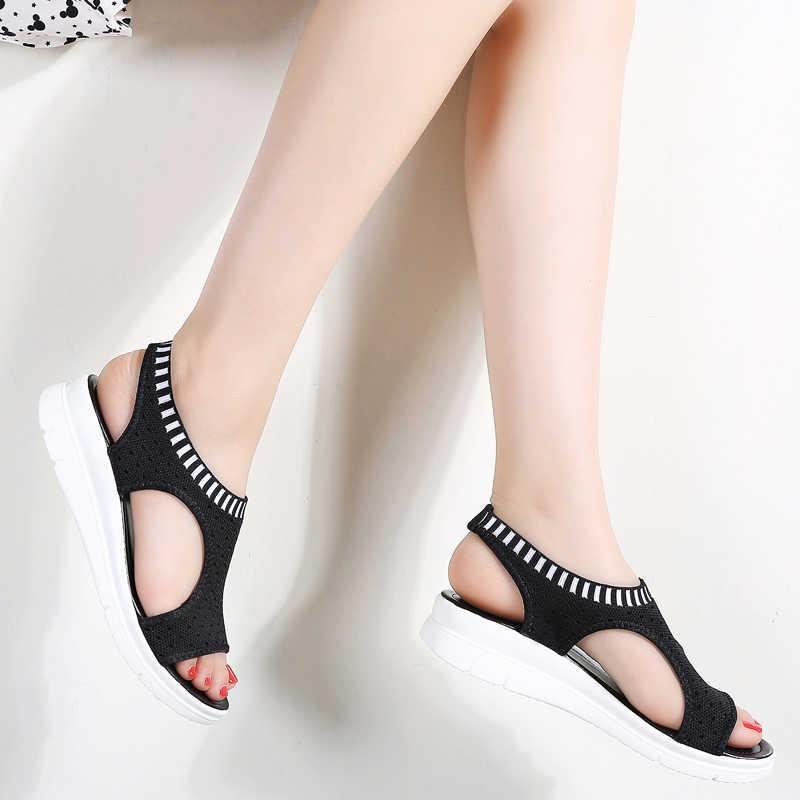 STQ Giày Sandal Nữ 2020 Mới Giày Nữ Giày Nữ Mùa Hè Nêm Thoải Mái Giày Sandal Nữ Phẳng Slingback Quai Giày Sandal Nữ Sandalias QS808