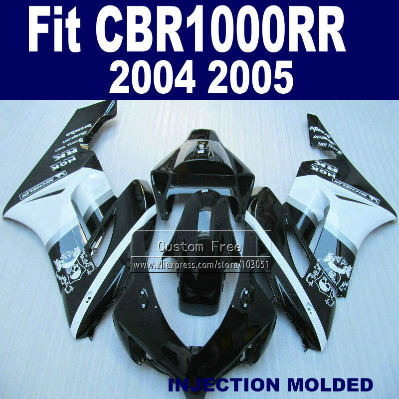 Custom ABS  Injection fairing set for Honda 2004 2005 CBR1000RR CBR 1000 RR 04 05 CBR 1000RR white black fairings kits