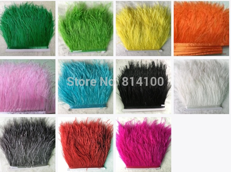 10yards/lots Muticolor Long Ostrich Feather Plumes Fringe trim 8-10cm Feather Boa Stripe for Party Clothing Accessories Craft