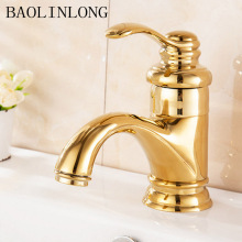 BAOLINLONG Antique Brass Basin Deck Mount Bath Faucets Vanity Vessel Sinks Mixer Single Bathroom Tap