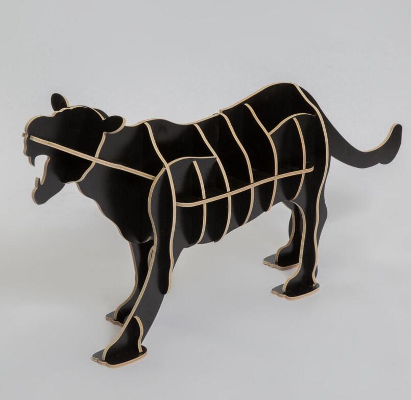 Artisanat ornements créatifs accueil arts léopard simulation bois artisanat créatif ameublement étagères en bois Table basse guépard