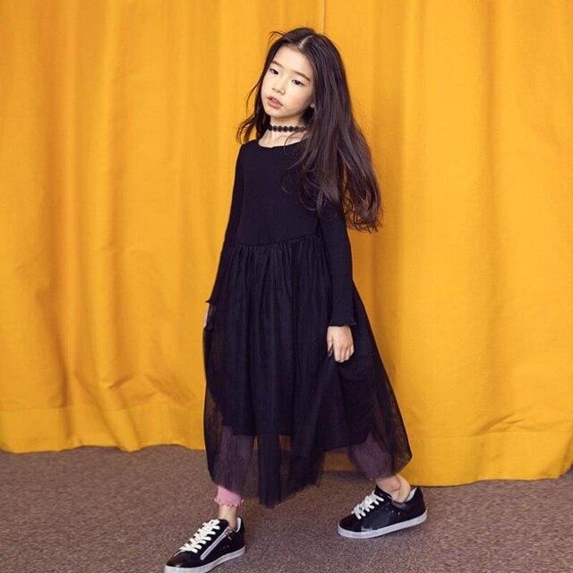 a945f88ce665b الموضة الجديدة 2018 ربيع الخريف بنات الأميرة اللباس الأسود فساتين طويلة  الأكمام عارضة الاطفال لفتاة ملابس