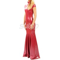 Latex Rubber mermaid Dress sexy dresses longuette redcolor eveningwear evening clothes trumpet evening party