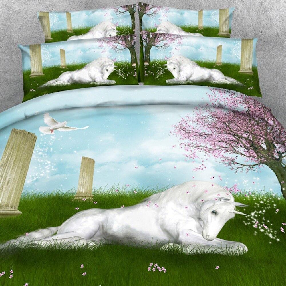 Biancheria reale Sorgente di Marca 6 PZ PER SET Magico Madre e bambino Unicorni Cristallo Mondo 3d set lenzuolo con Copriletto - 3