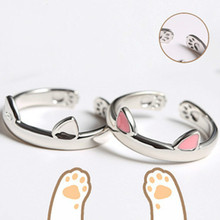 Cute Silver Cat Pink Ears Adjustable Rings for Women Wedding Engagement Fashion Jewelry 2019 New