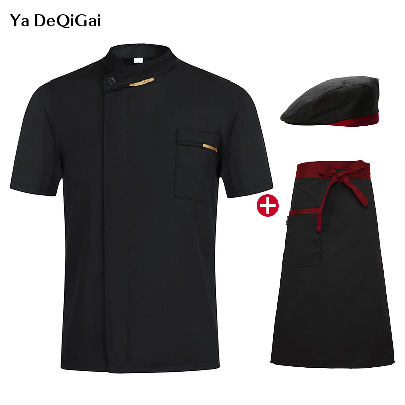 Single Breasted Summer Breathable Short Sleeve Casual Restaurant Cook Wear Catering Uniforms Chef Hat Jacket Apron Hotel Uniform
