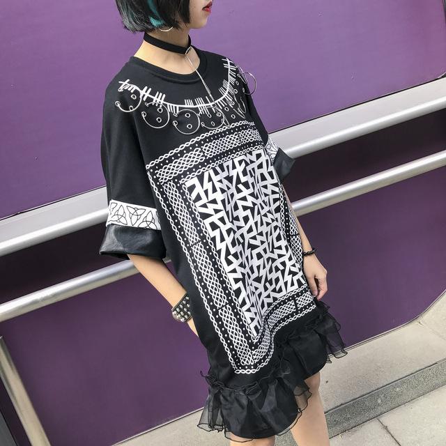 [XITAO] 2017 primavera maré rua Tailândia mulheres personalidade impressão de manga curta soltas patchwork PU e anel Pescoço O-t LSF001