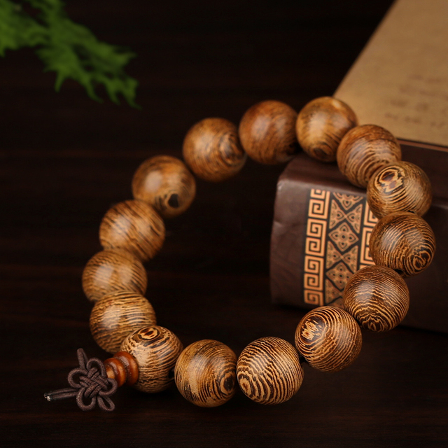 Fashion Vintage Wenge Jewelry Wood Stretch Wooden Bracelet Men Handmade Buddha Bracelets Bangle