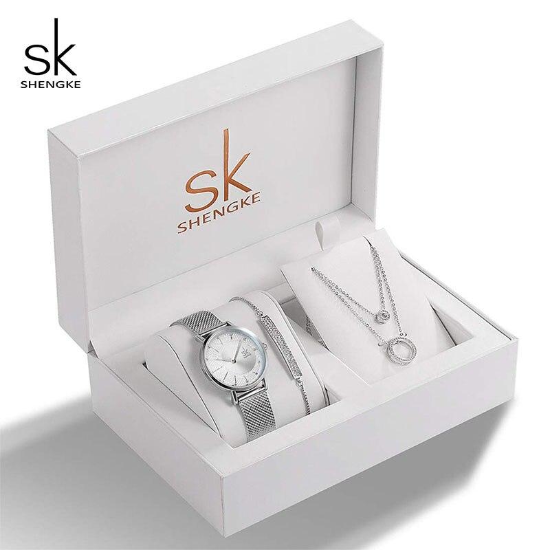 Shengke מותג Creative נשים שעון גביש עיצוב צמיד שרשרת סט נשי תכשיטי אופנה יוקרה שעוני יד מתנה לנשים