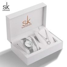 ساعة اليد الرائعة للنساء من Shengke ذات تصميم كريستالي ، مجموعة بدلاية على شكل سوار ، مجموعة مجوهرات أنثوية ، ساعة يد عصرية فاخرة ، هدية للنساء