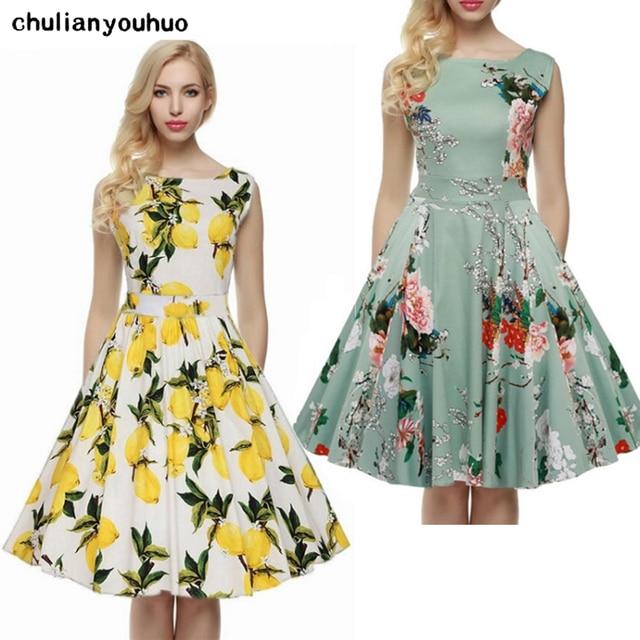 7a58dcd3c Chulianyouhuo Impresión Floral 50 s 60 s Vintage Vestidos de Audrey Hepburn  2017 Nuevo estilo de