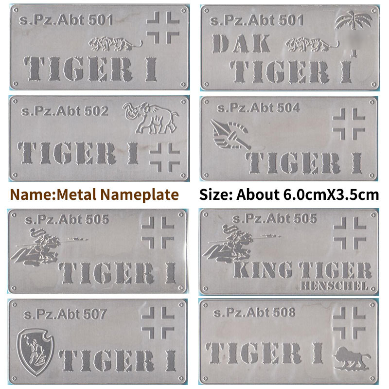 1/35 1/72 Modified Parts Metal Nameplate For 501 503 504 505 507 508 Tiger Tank (size:about 6*3.5cm)