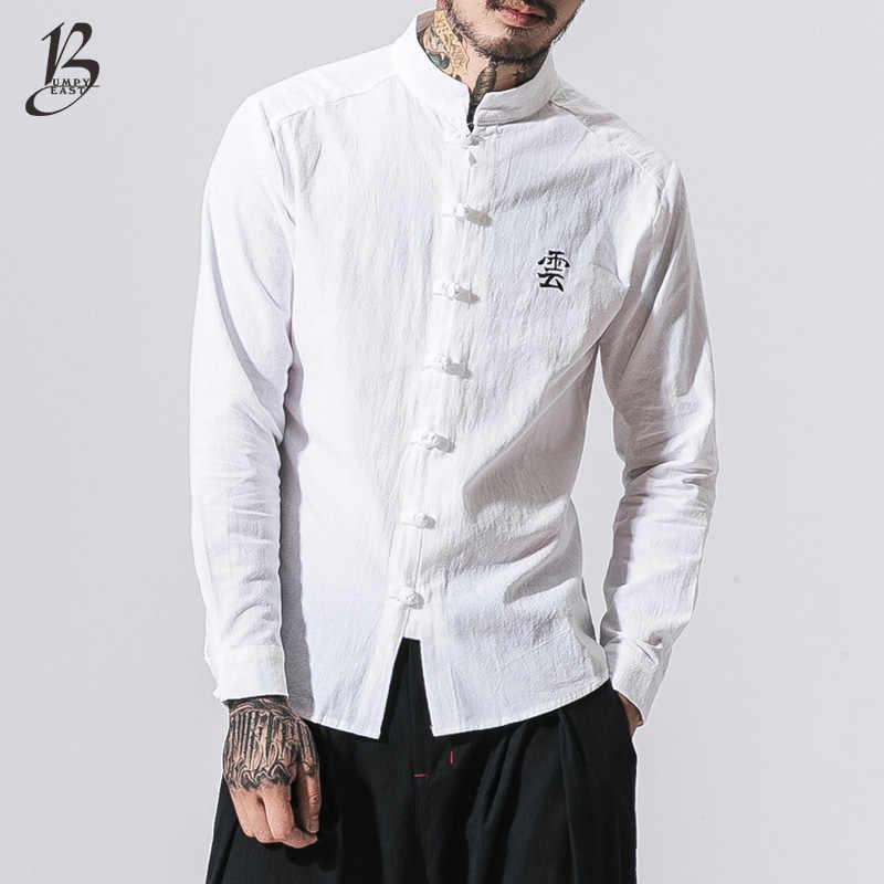 dcb03953bd4c4a4 Bumpybeast китайский Стиль вышивкой Для мужчин хлопок льняная рубашка  Мужской со стоячим воротником повседневные рубашки с