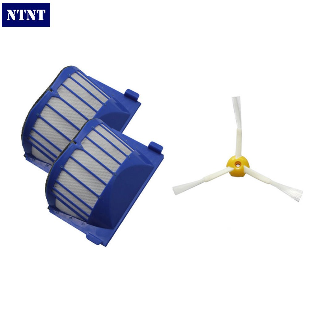 NTNT Free Post New 2 AeroVac Filter + Brush 3 armed for iRobot Roomba 600 Series 620 630 650 660 ntnt new filter