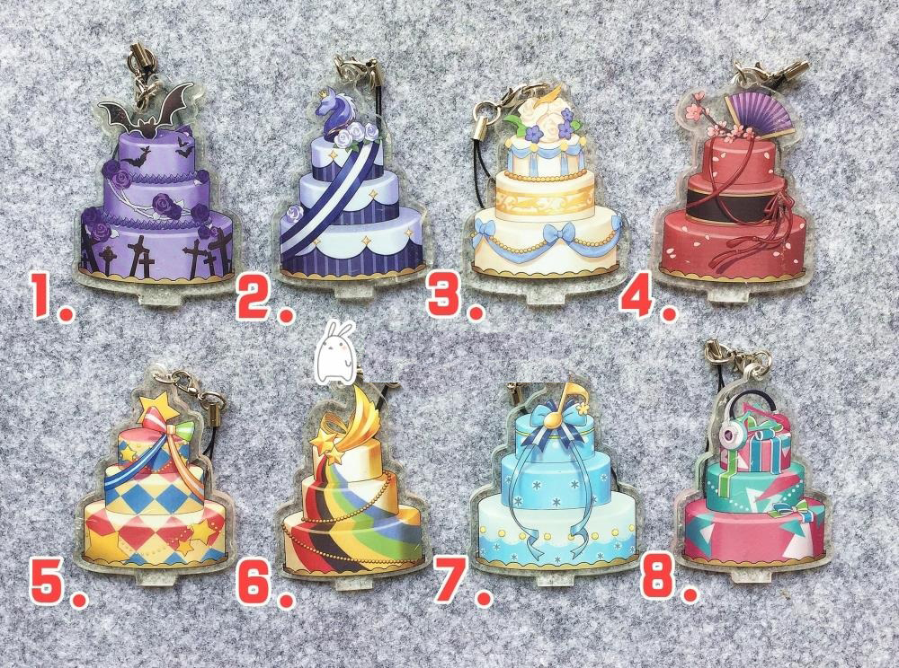 Ensemble Stars Anime Idol High School Game Team Trickstar Knights Fine 2wink Rabits Birthday Cake Japanese Rubber Keychain