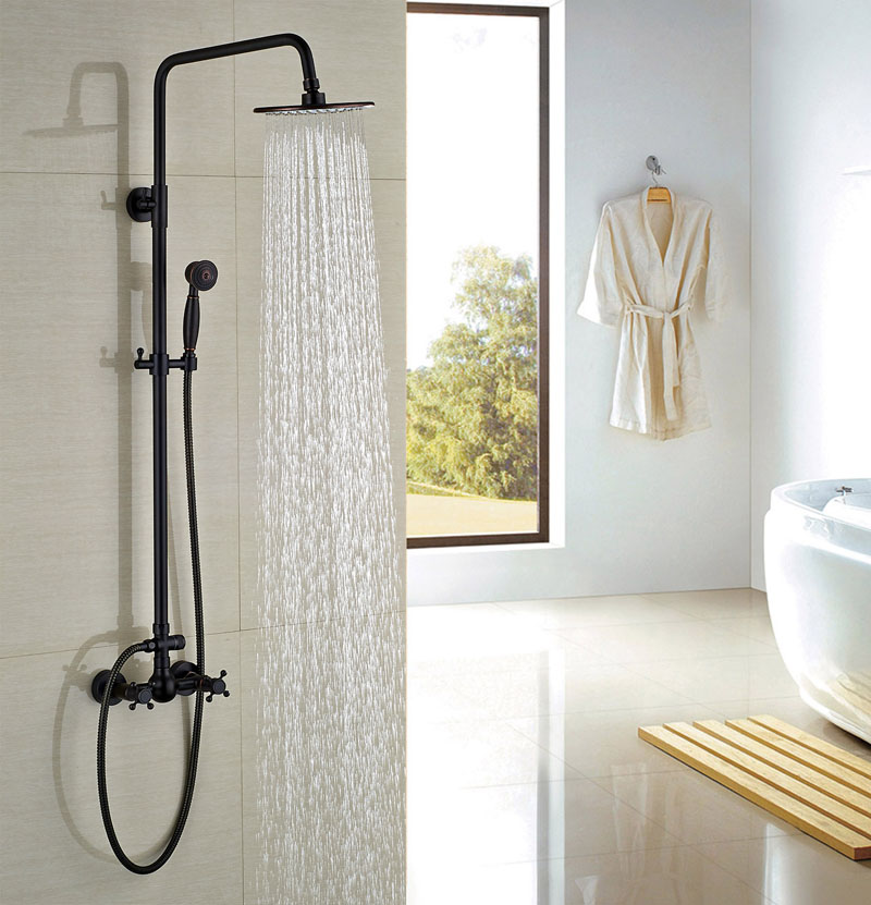 Bathroom 8-in Rainfall Shower With Tel Handheld Wall Mounted Oil Rubbed Bronze Shower Units