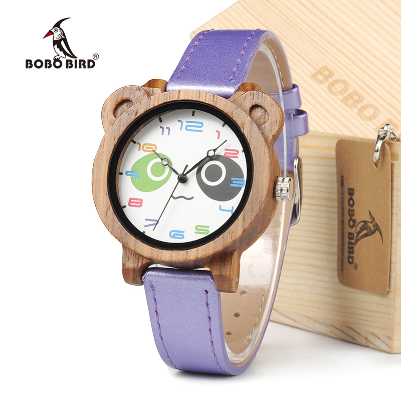 BOBO BIRD Natural Bamboo Woodies Kids Wristwatch With Colorful PU leather And Japanese Miyota 2035 Movement With Gift Box karinluna best quality crystals brand big size 34 43 sexy high heels summer sandals shoes women party woman shoes