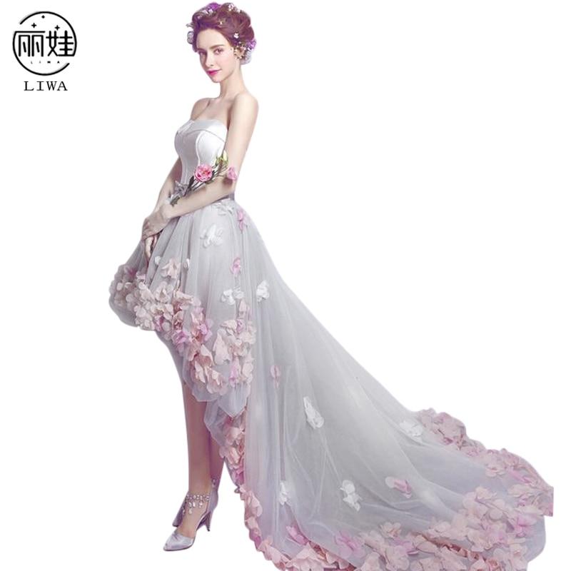 High Low Train Petal Decoration Wedding Dress Slim Back