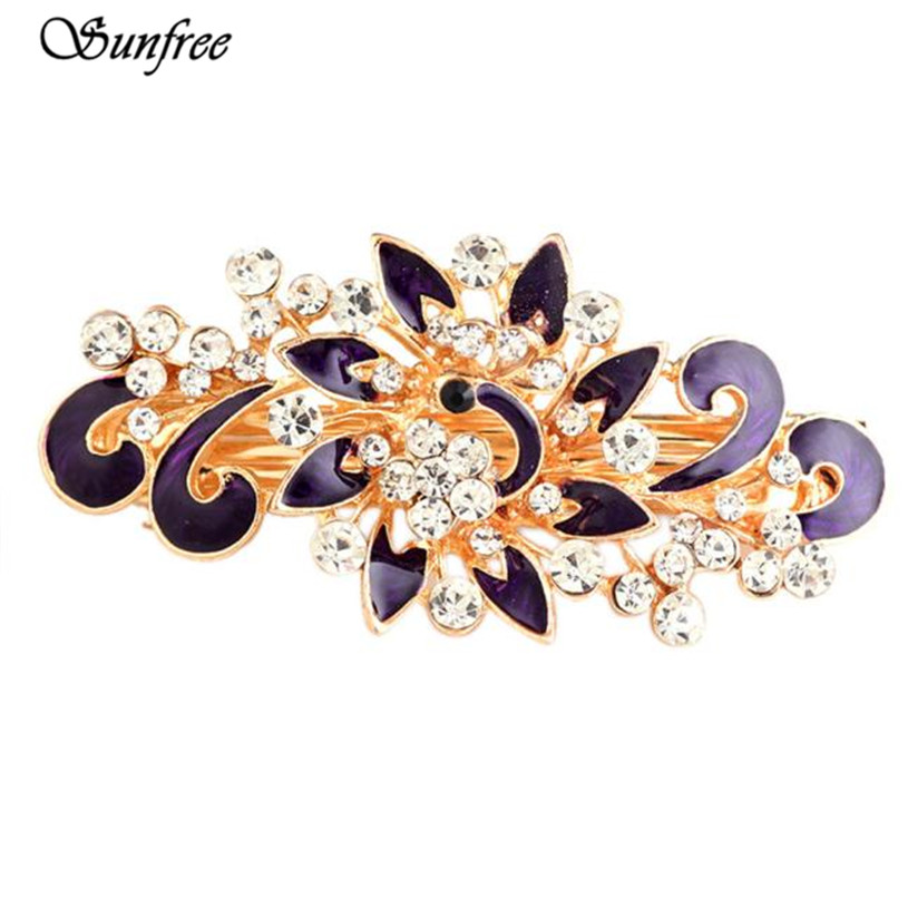 Sunfree 2016 New Hot Sale Peacock Rhinestone Hair Pins Hairpins Clip Hairpin Hair Accessories Brand New High Quality Nov 11 500pcs hair clip hair pins clips professional makeup hairdressing tools lot colors hairpins hairpin hair accessories decorations