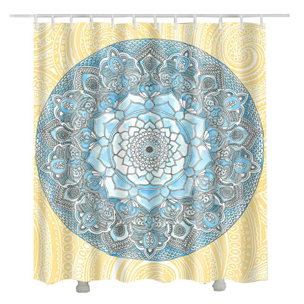 Lotus Flower Mandala Shower Curtain Polyester Fabric Home Decorative