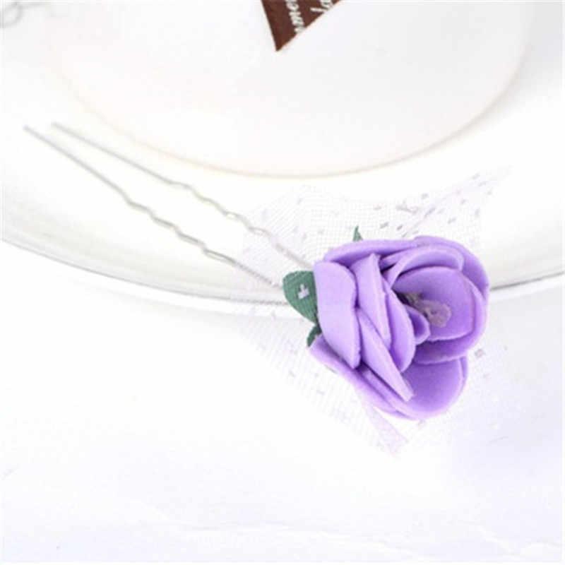 Korean Women Girls Fashion Hairpins Flowers U Clips Wedding Bridal Hair Pins Styling Tools Decoration Headwear Hair Sticks Clip