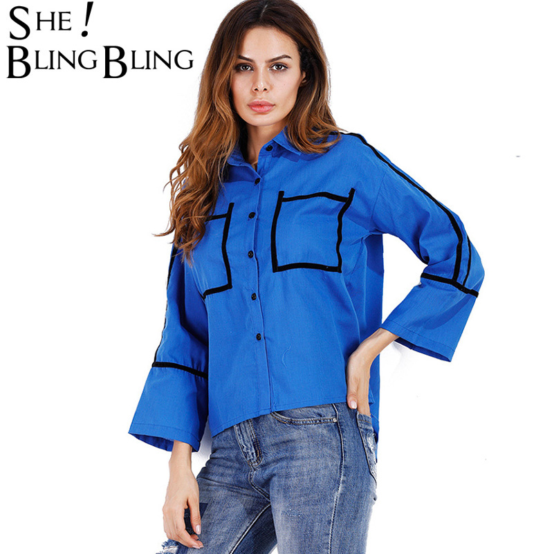 SheBlingBling Autumn Fashion Loose Women Shirts Summer Flare Sleeve Turn Down Collar Shirts Casual Basic Blouses Female Top