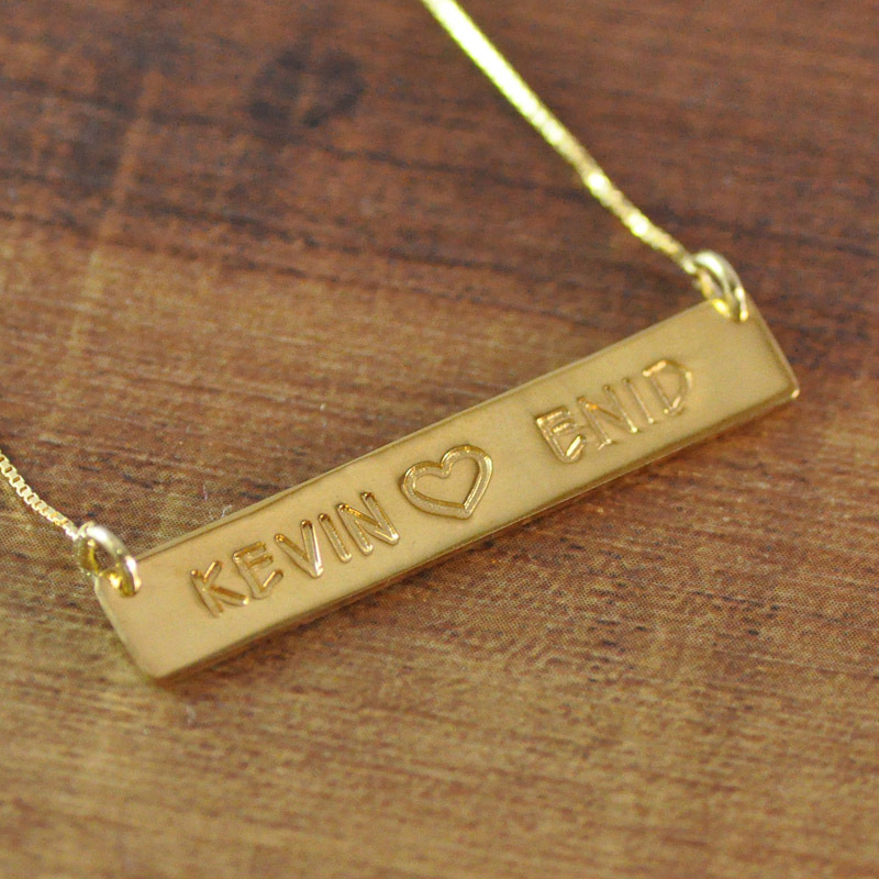 Hand stamped necklace gold color personalized engraved bar necklace hand stamped necklace gold color personalized engraved bar necklace custom bar name pendant in pendant necklaces from jewelry accessories on aloadofball Image collections