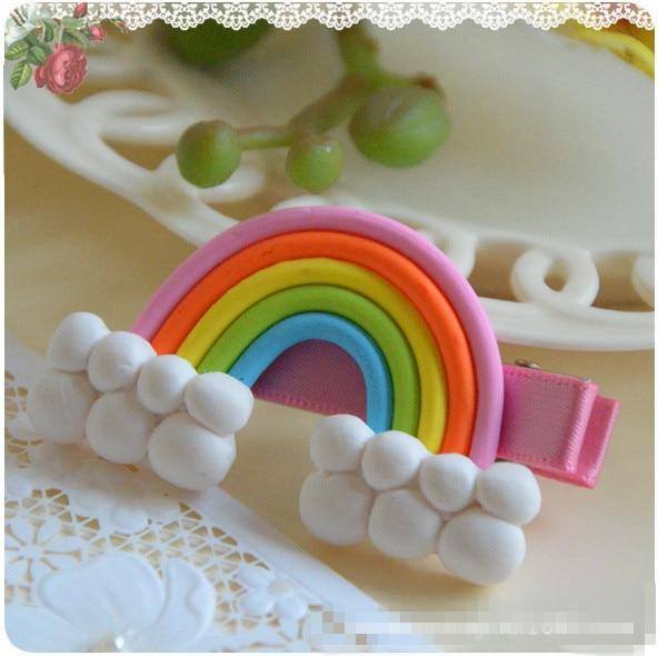 Polymer Clay Stereo Cartoon Rainbow Lollipop Baby Girl Hair Clip Hairpin Toddler Kid Children Hair Accessories Headwear kk1007