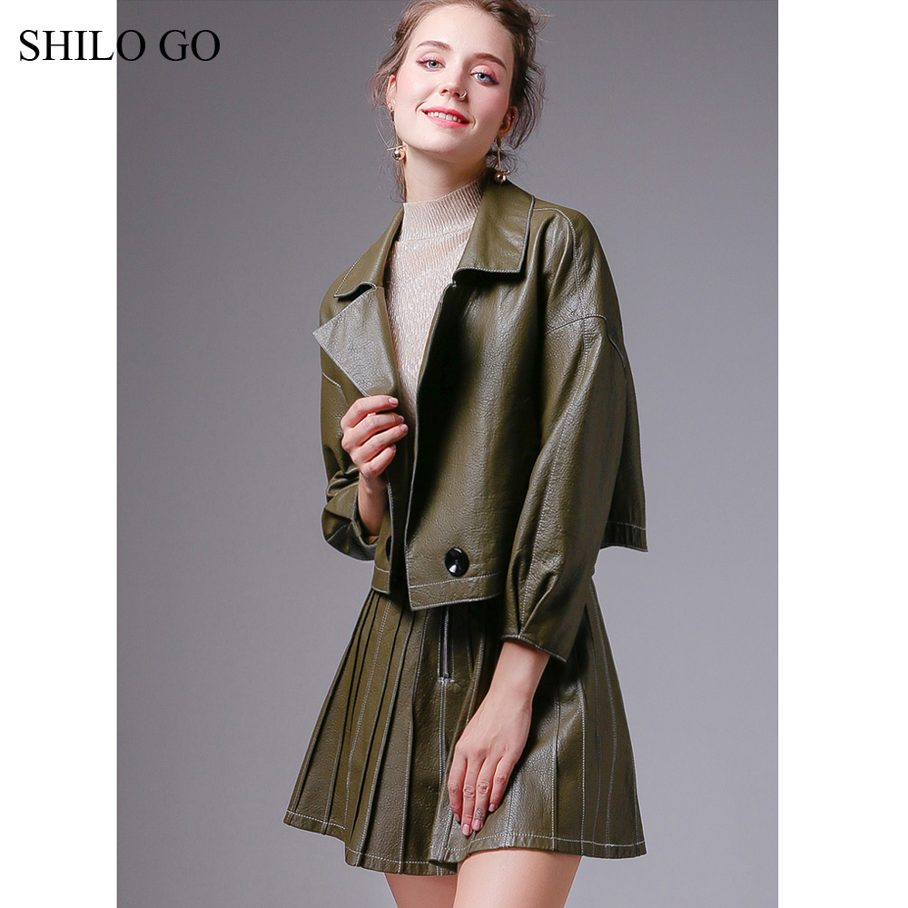 SHILO GO Leather Sets Womens Autumn Fashion Sheepskin Genuine Leather Suit Laple Loose Double Breasted Jacket A Line Skirt