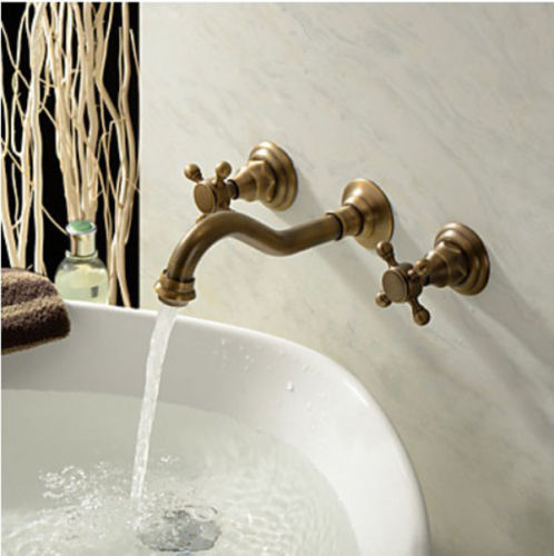 Wall Mount Dual Handles Brass Antique Basin Sink Faucet 3 Holes Bathroom Vessel Sink Mixer Taps