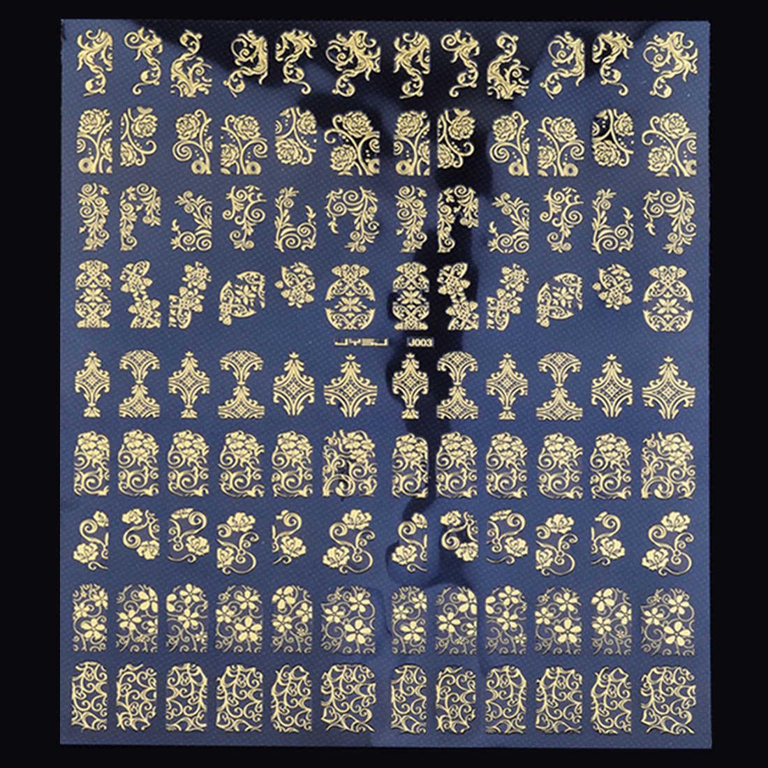 Fleur doigt enveloppes 1 feuille or ongle autocollant vigne petit ongle Art décalcomanies métal couverture complète 3D adhésif ongles autocollants