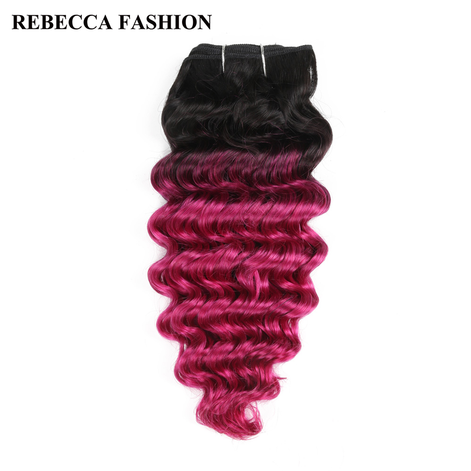 Rebecca Brazilian Human Hair Weave Remy 1 Bundle Deep Wave Ombre Pink Pre-Colored For Salon Hair Extensions T1b/Pink 100g