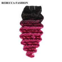 Rebecca Brazilian Human Hair Weave Remy 1 bundle Deep Wave Ombre Pink Pre-Colored For Salon Hair Extensions T1b/Pink 100g(China)