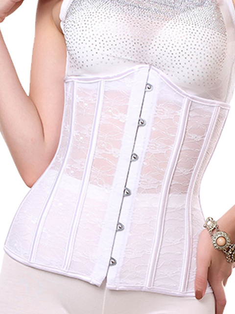 b983d121e20 US $19.47 5% OFF|High quality steel boned white lace corset underbust S XXL  strapless bridal corset sexy slimming wedding corset underwear-in Bustiers  ...