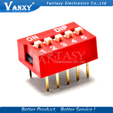 10PCS DIP Switch 5 bit Way 2.54mm Toggle Switch Red Snap Switch Wholesale Electronic