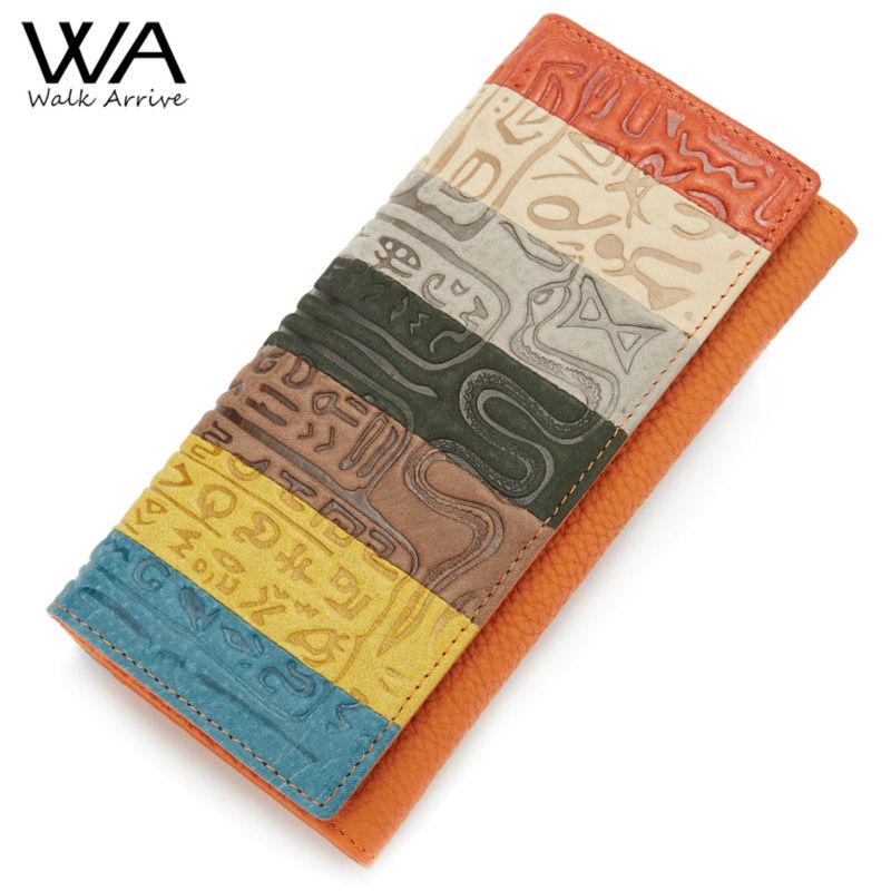 Prix pour Walk arrive véritable cuir femmes portefeuille en relief sac à main en cuir marque conception embrayage portefeuille sac d'argent de mode pièces titulaire
