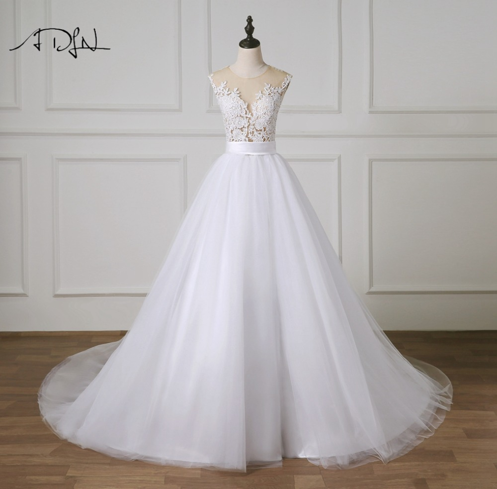 ADLN Charming A line Wedding Dress 2019 Illusion Bodice Princess Puffy Bridal Gown Customized Vestidos de