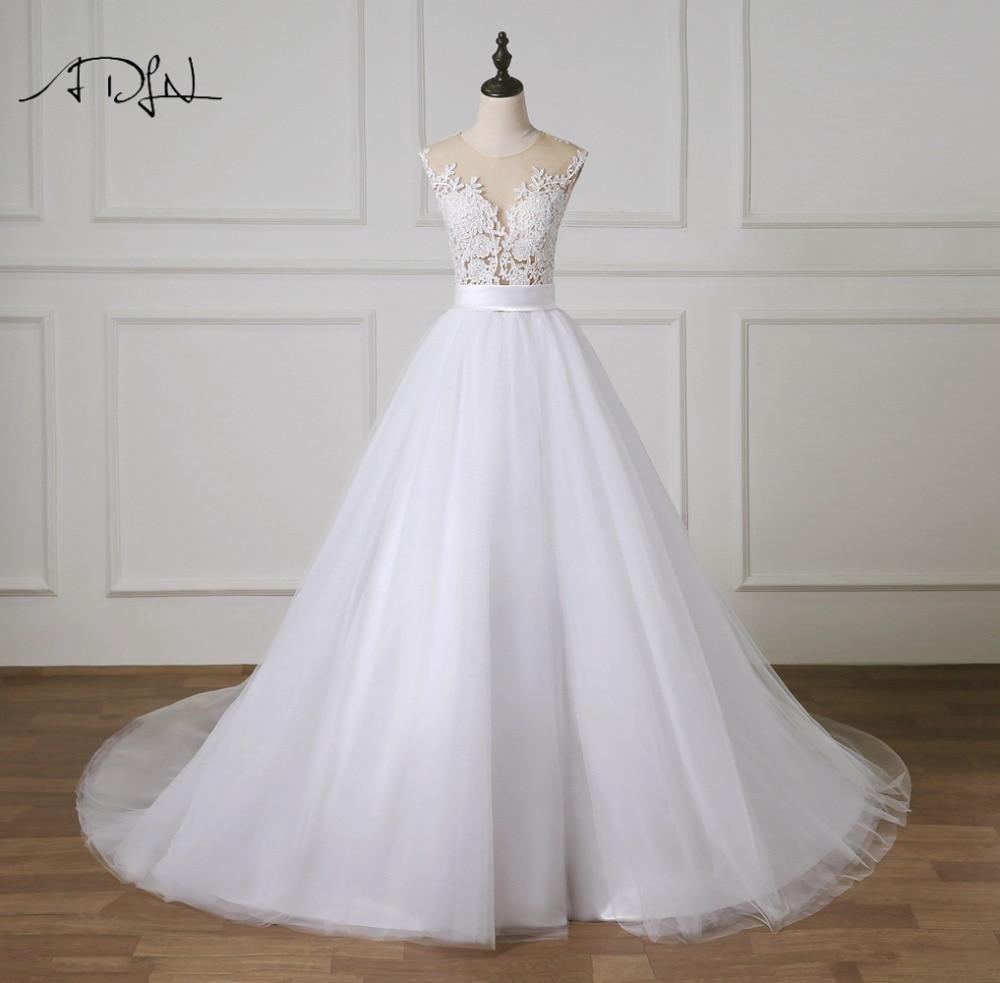 ADLN Charming A line Wedding Dress 2019 Illusion Bodice Princess Puffy Bridal Gown Customized Vestidos de Novia