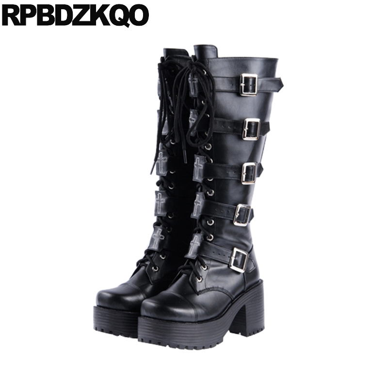 Punk Rock Boots Waterproof Metal Long Embellished Lace Up Custom High Quality Platform Comfortable Black Women Trend Fashion