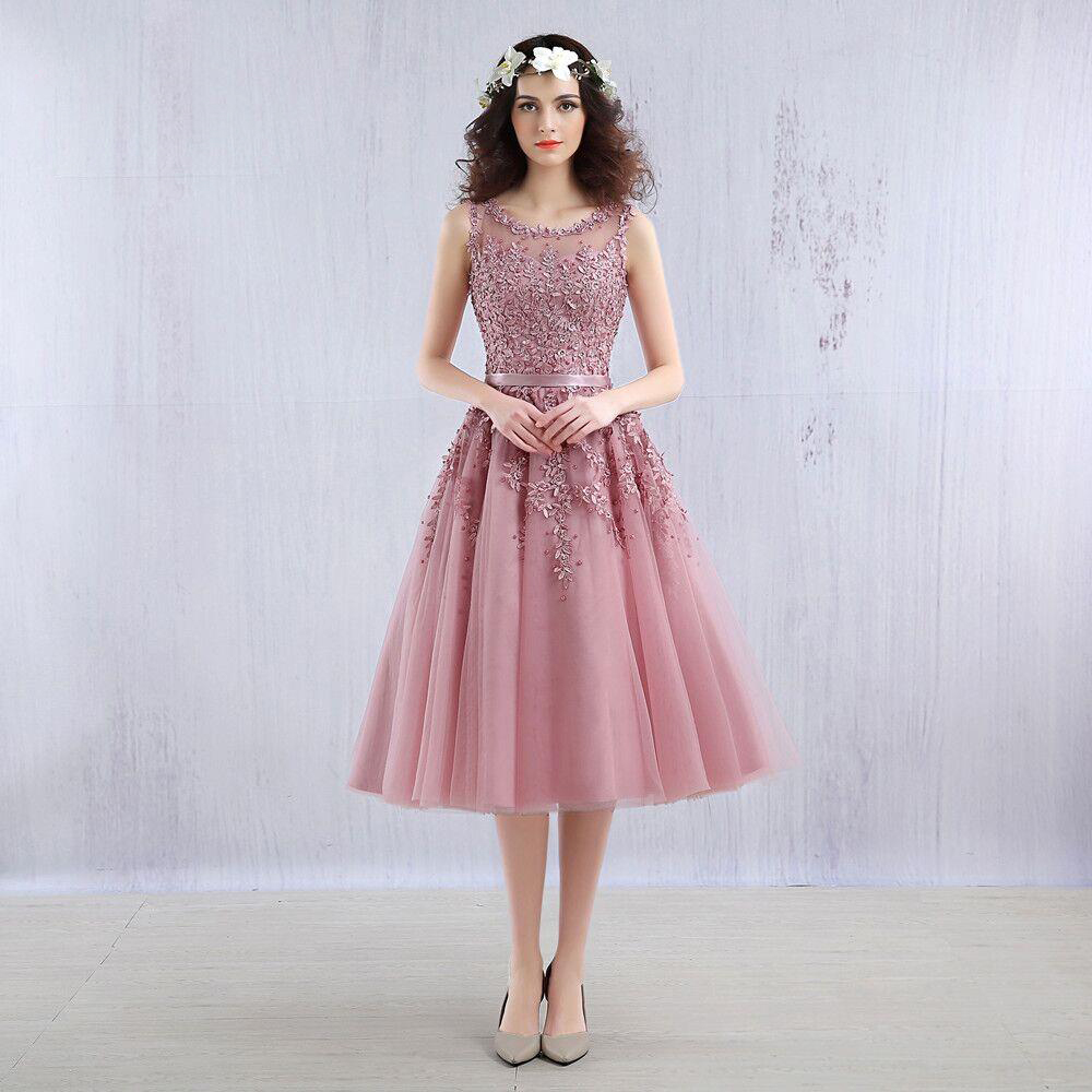 Elegant Short Tulle Lace Evening Dresses Scoop Neckline Pearls Beaded Tea Length Women Party Dresses Formal