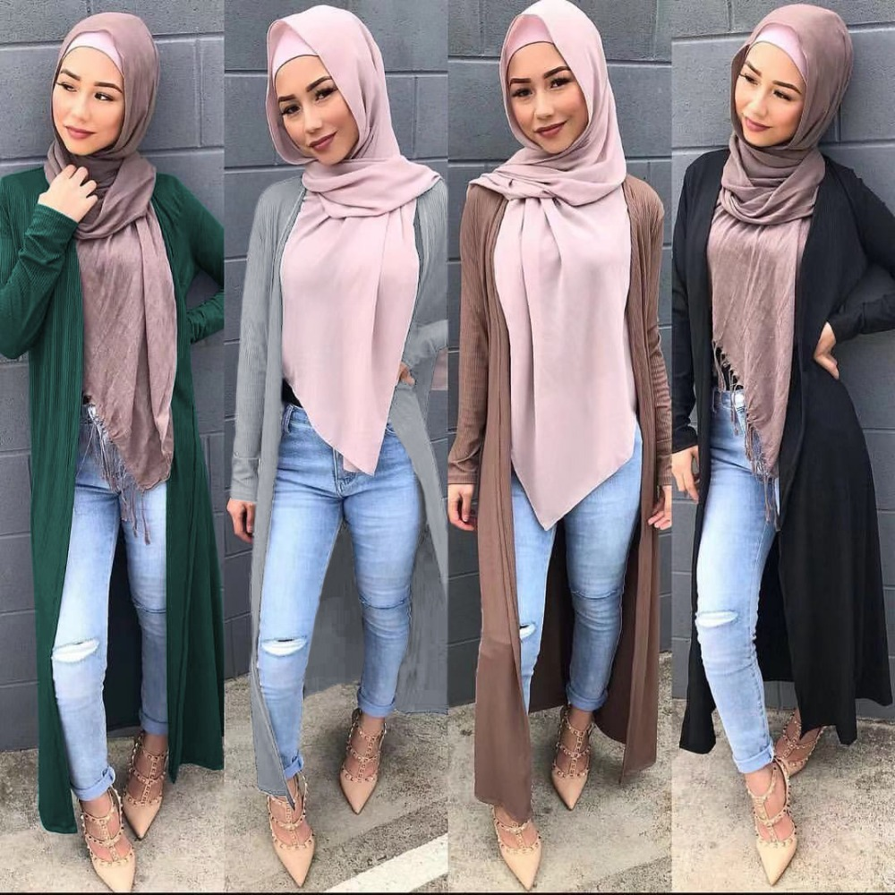 Muslim Outwear Open Abaya Knitted Full Dresses Cardigan Kimono Long Robe Gowns Jubah Middle East Ramadan Arab Islamic Clothing