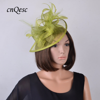 Lime green Olive HOT Sinamay Fascinator Wedding,Kentucky Derby,Ascot Races, Church hat with feathers on satin headband