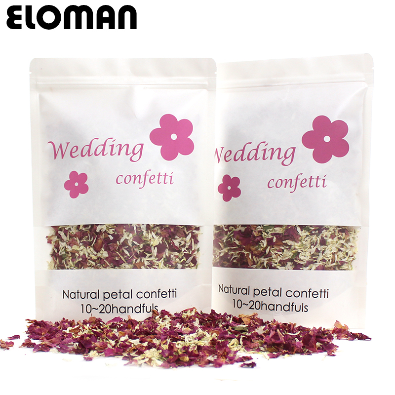 100% natural wedding confetti ELOMAN dried rose flower petals confetti wedding and birthday party decoration biodegradable 1L(China)