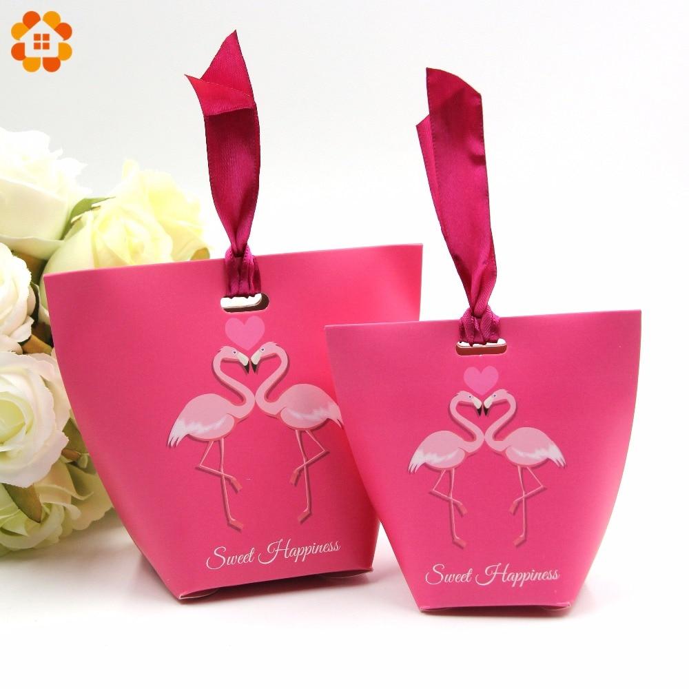 10PCS/Lot 2types Flamingo Gift Box DIY Ribbon Candy Pattern Kraft ...