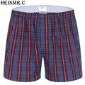 Xdk08 3 unids/pack hombres 100% algodón plaid boxer shorts mens underwear hombre fotos casuales de alta calidad tamaño grande marca cuecas boxeador