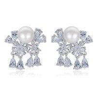 Fashion AAA Zircon Copper Plated Platinum Flower Stud Earrings High Quality Korean Style Women Earrings Charm
